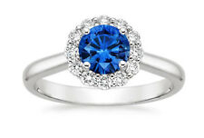1.63Ct Gemstone Anniversary Band 14k White Gold Blue Sapphire Diamond Rings N, P