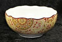 """222 Fifth Lyria Saffron 5.5"""" Soup CerealCoupe Scalloped Bowl - Tan Maroon Floral"""