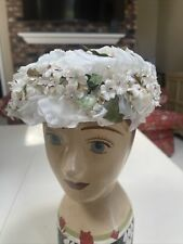 Vintage Ladies Hat Delicate Flowers Velvet Leaves Hand Painted Stamen Beads
