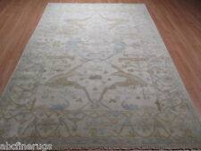 6x9 Oushak All-Over-Pattern Vegetable Dye Hand-made-knotted Wool Rug 582474