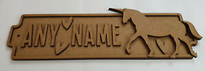 Personalised childrens Unicorn bedroom door sign kit ready to paint or colour