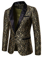 Men's Jacquard Paisley Blazer Groom Tuxedos Dinner Wedding Prom Suit Casual Tops
