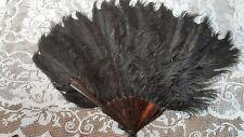 Antique Fan Black Ostrich Feather Victorian Vintage Original Burlesque