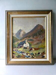 tableau, huile sur toile signée, paysage, montagne, torrent années 60 Auvergne ?