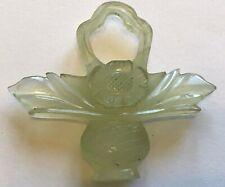 HIGHLY CARVED GREEN JADEITE JADE FLOWER POT PENDANT
