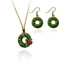 Red Green Wreath Christmas jewellery set Drop earrings Necklace Xmas Jewellery