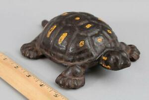Antique Early 20thC Painted Cast Iron Turtle Doorstop Garden Statue, No Reserve!