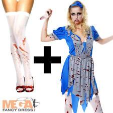 Zombie Alice + Stockings Halloween Ladies Fancy Dress Womens Adults Costume