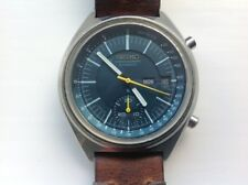 Grand looking vintage Seiko 6139 7070 serviced with new crystal and custom strap