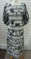 Grey White Cotton Midi Dress Tie Dye Kimono Sleeves - Size 10