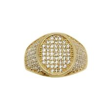 14k Gold Full Micropave Mens Ring Real Yellow Gold Size 10