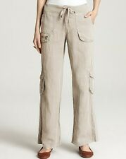 NWT XCVI Zazou Linen Wide-Leg Cargo Pants Khaki Beige Size M