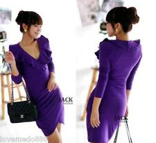 Korea Womens Career Deep V ruffle collar Casual PARTY CLUB Dress Purple Small
