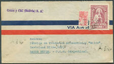 BOLIVIA TO ARGENTINA Air Mail Cover w/Bisected Postage VF