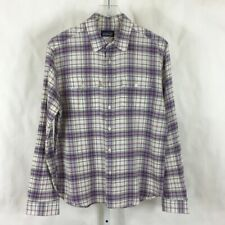 Patagonia Mens Long Sleeve Shirt Button Front Purple & White Plaid Size S