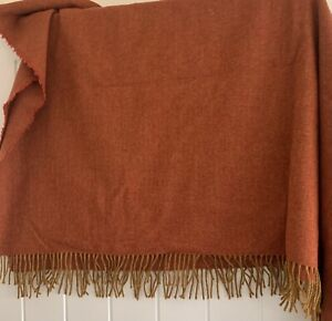 Art Of The Loom Pure Wool Burnt Orange Throw (170cm x 145cm)