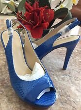New Marc Fisher Blue Snakeskin PeepToe Sling Back Platform Heel Sandal Sz 9M $99