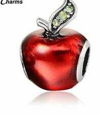 Red Enamel jewelry Apple zinc alloy silver plated Rhinestone Crystal Charm bead