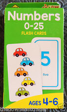 School Zone #04022 NUMBERS 0-25 Flash Cards Children Ages 4-6 w/ Parent Cards