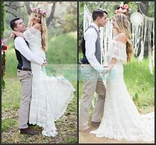 Dreamy Bohemian Wedding Dress Off Shoulder Lace Boho Bridal Gown Size 10 12 14++