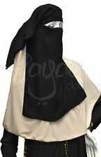 Hayaa THREE Layers Soft Chiffon Black Saudi Niqab Hijab Islamic Clothing