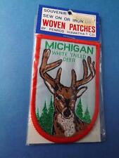 MICHIGAN WHITE TAIL DEER BIG BUCK HAT JACKET PATCH VINTAGE SOUVENIR COLLECTOR