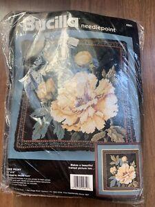 NIP 1990 Vintage Bucilla Needlepoint Tree Peony 4651