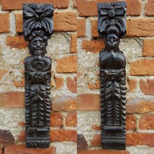 Pair 16thC Elizabethan Period English Antique Carved Oak Terms Panels