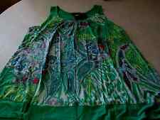 ELLEN TRACY PAISLEY GREEN TANK CAPRI LARGE12-14 Lounge Set Pajamas PJ's MSRP $64