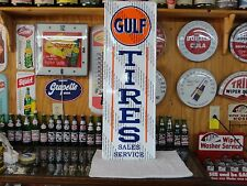 GULF OIL TIRES SALES SERVICE SIGN EMBOSSED LICENSED MODERN MADE IN USA
