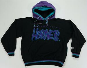 Rare Vintage STARTER Charlotte Hornets Two Tone Double Hoodie Sweatshirt 90s M
