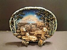 """Resin 3-D Wolf Pack Scene 12"""" Oval Hanging or Standing Shelf Plaque"""