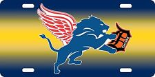 Detroit Fan Sport Teams Front License Plate Combined Logo Mashup Car Tag