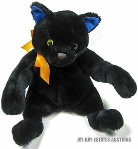 "VINTAGE HALLMARK CARDS INC. HALLOWEEN MIDNIGHT BLACK CAT PLUSH ANIMAL 1999 12"""