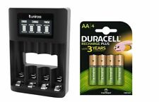 UNiROSS SMART FAST LCD CHARGER 4 x AA  DURACELL RECHARGEABLE BATTERIES - MUSB