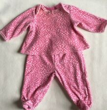 Betsey Johnson Baby Pink Leopard Velour Top & Footed Pants sz 3-6 mos