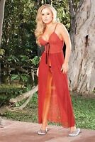 Espiral Lingerie Long Gown With Matching G-String 772 Black Small