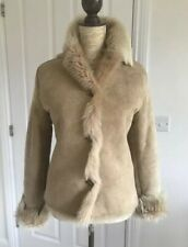 Sheepskin Jacket Shearling Coat Suede Real Fur Firenze Camel/Beige 8 34/36 US2/4