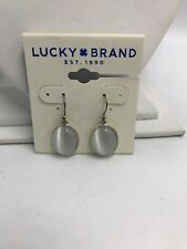 $29 Lucky Brand Silver tone Clear Oval Cateye Cabachon Drop Earrings #200