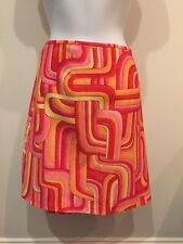 Vintage 90s Pink Orange Yellow Abstract Print Skirt Womens (1741)