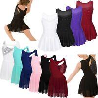 Girls Ballet Latin Dance Dress Sequins Leotard Lyrical Skirt Dance Wear Costume