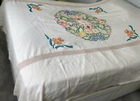 Vintage 1930s Bedspread Tablecloth Embroidered Throw Bed Cover Linen Double Silk