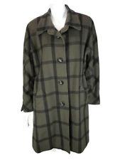 Vintage Dino Valiano Coat Womens Large ? Wool Cashmere Angora Plaid Jacket Green