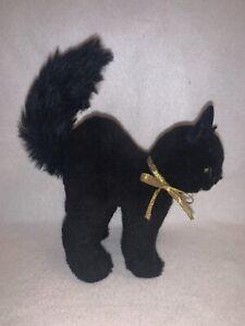 "Cute Vintage Hermann Germany Halloween Black Cat Toy 6.5"" Green Eyes Excellent"