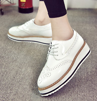Womens Patent Leather Lace Up Wedge Heels Platform Shoes Brogue Oxfords New I733