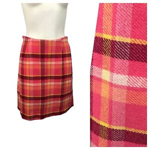 1960s Plaid Skirt / 60s Mod Pink Bold Checked Short Pencil Skirt / Small