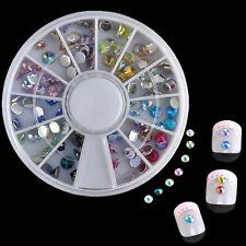 12 Color/Wheel Nail Art Tips Glitter 3D gems Crystal Rhinestone DIY Decoration