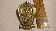 "Antique BRASS PAPER CLIP ""T"", N.Y. Horseshoe Shape,Crown,Stars, 3-1/2"""