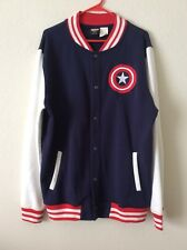 Marvel Captain America Vasity Jacket Navy White Red Size Large EUC