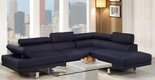 Poundex F7569 2-Pcs Modern Blue Sectional Sofa Set Right Facing Chaise